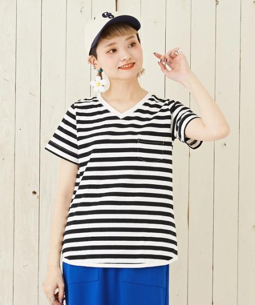 【セール除外商品】USコットン14/-空紡糸天竺 ボトル入りボーダーVネックTシャツ