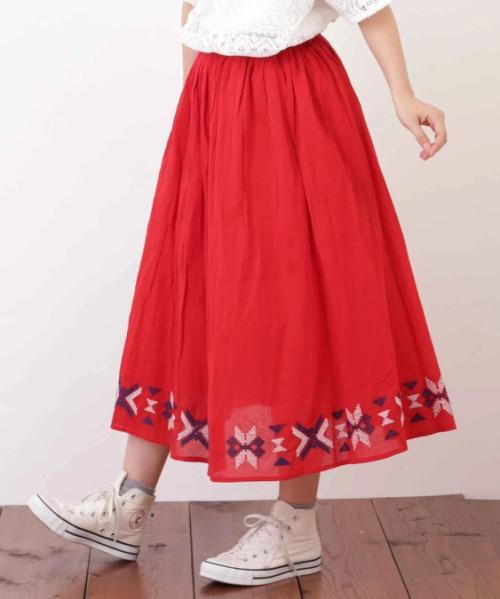 ボイル刺繍ギャザースカート