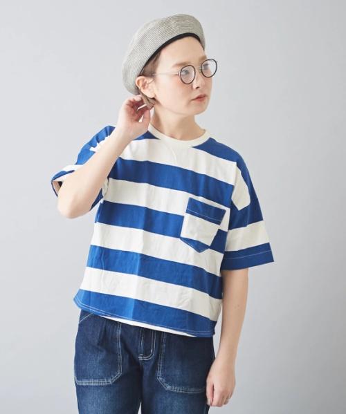 【セール除外商品】空紡糸天竺ボーダーボトル入りビッグTシャツ