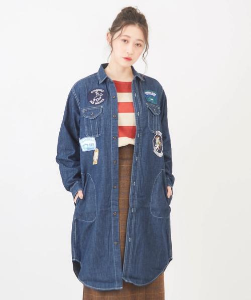 ツイルデニム ワッペン付ワークシャツワンピースコート