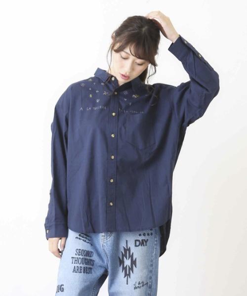 ボイル×刺繍ビッグシャツ