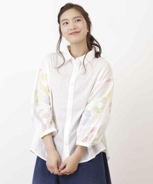 60/-ローン袖刺繍シャツ