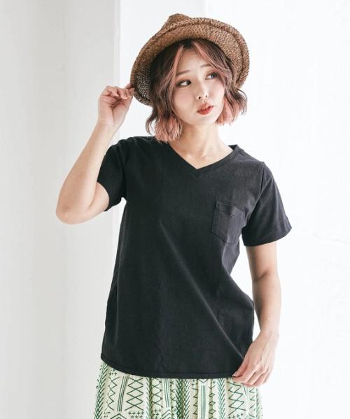 【セール除外商品】USコットン14/-空紡糸天竺 ボトル入り無地VネックTシャツ