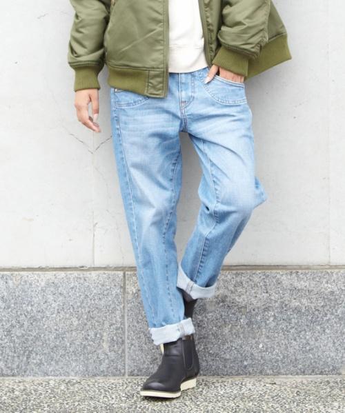 【セール除外商品】ストレッチデニムスリムストレートパンツ