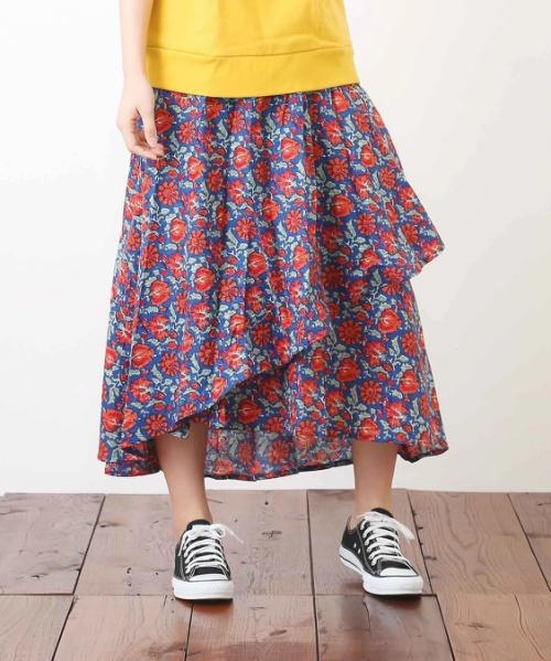 ドビー総柄プリントラップスカート