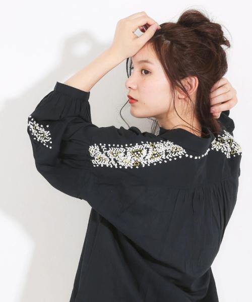 綿ボイル刺繍8分袖ビッグシャツ