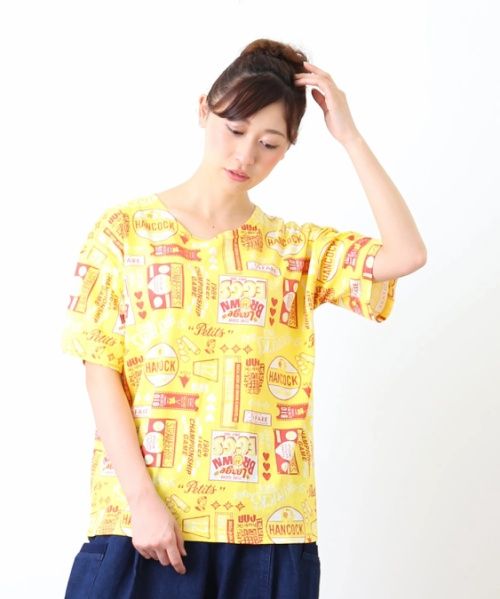 天竺総柄プリントボックスTシャツ
