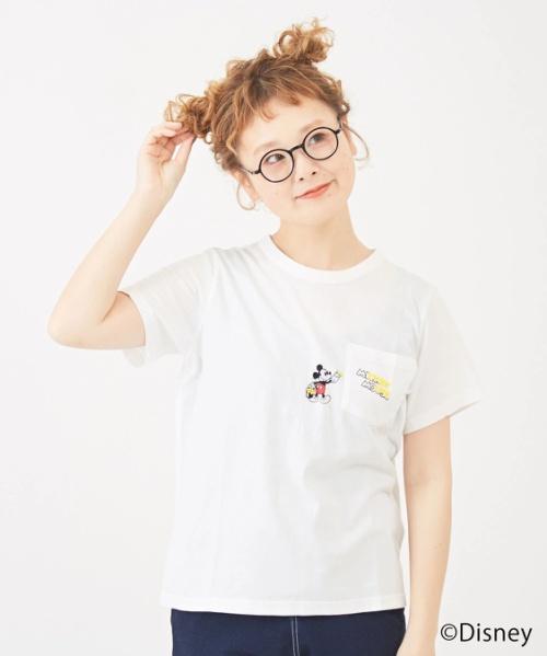 ミッキーデザイン 天竺ポケット付クルーTシャツ