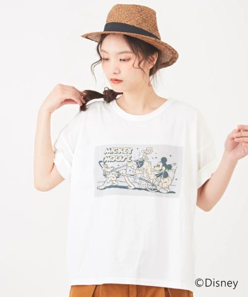 【セール除外商品】ミッキーデザイン 天竺ビッグクルーTシャツ