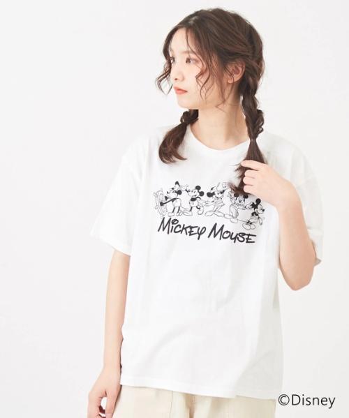 ミッキーデザイン 天竺クルーTシャツ