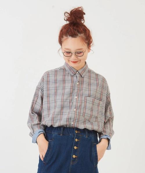 先染めガーゼツイルチェック8分袖ビッグシャツ