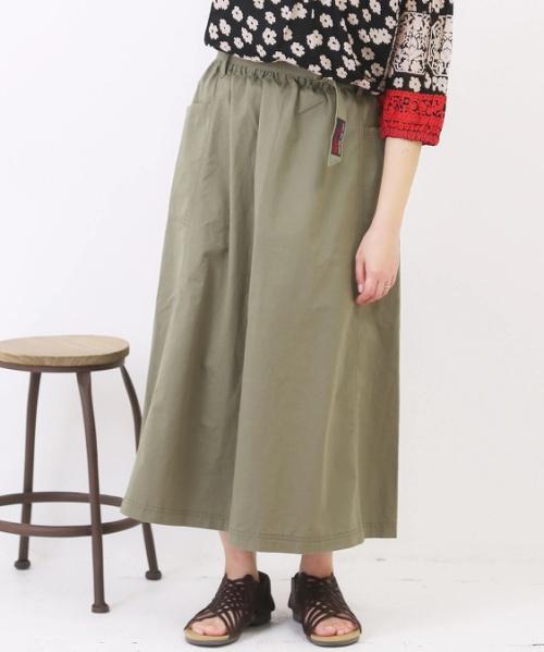 綿ツイルサイドポケットギャザースカート