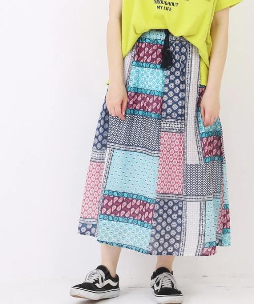 綿ボイルパネルプリントギャザースカート
