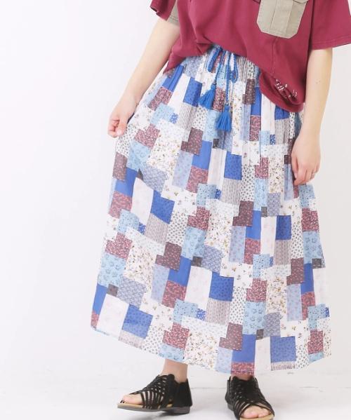 綿ボイル総柄プリントギャザースカート