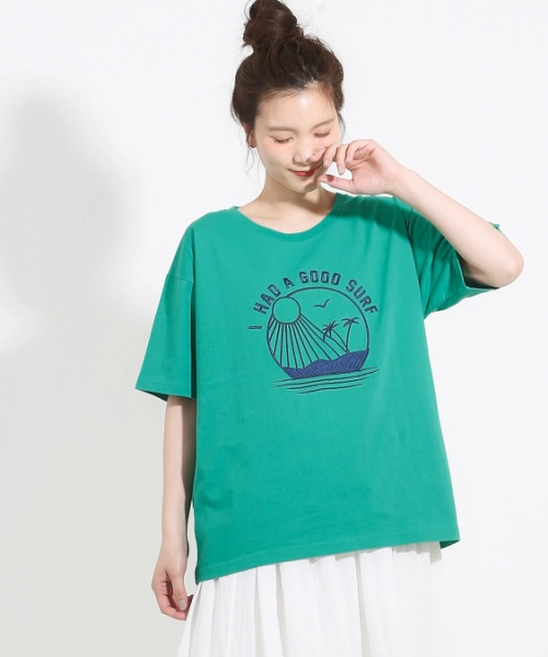 MVS糸天竺ドロップショルダーTシャツ
