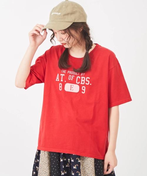 天竺ピグメントドロップショルダーTシャツ