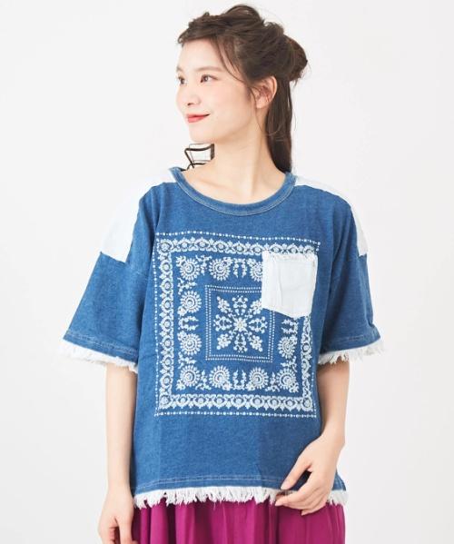 インディゴ天竺デニム付クルーTシャツ