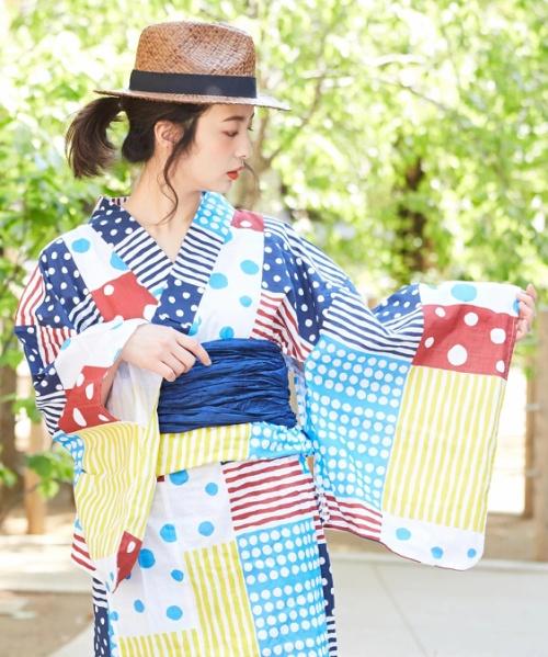 【セール除外商品】カラフルドットストライプ浴衣