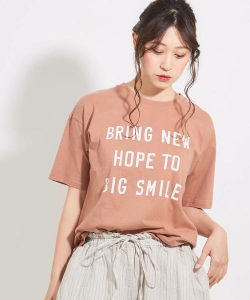 20/-天竺ロゴプリントクルーTシャツ