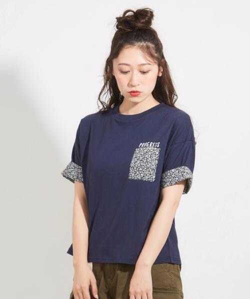 20/-天竺ポケット付クルーTシャツ