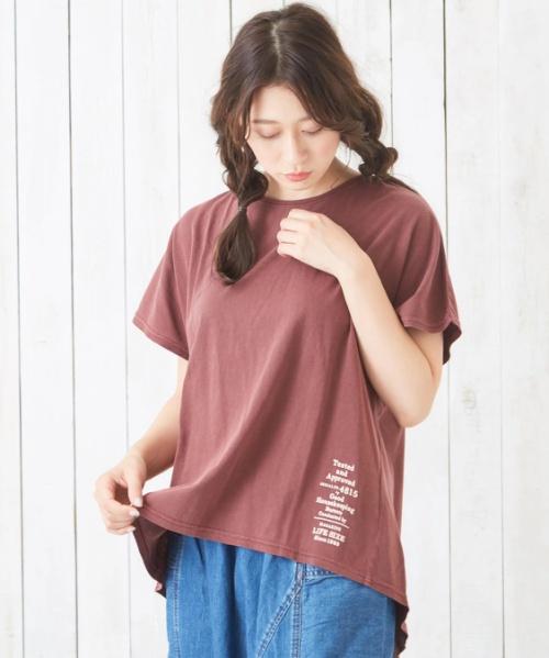30/-天竺ピグメント染めバックギャザーTシャツ