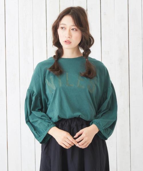 30/-天竺ピグメント染めボックスバルーンTシャツ
