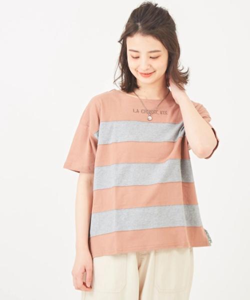 20/-天竺ボーダーボックスTシャツ