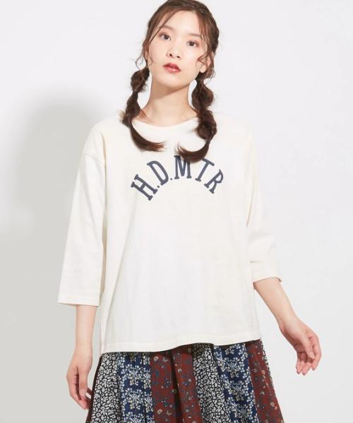 空紡糸ピグメント染めロゴプリントクルーTシャツ