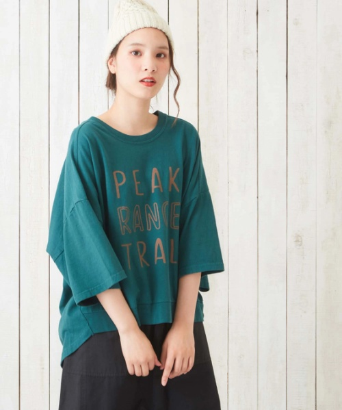 空紡糸ピグメント染めロゴプリントロングTシャツ