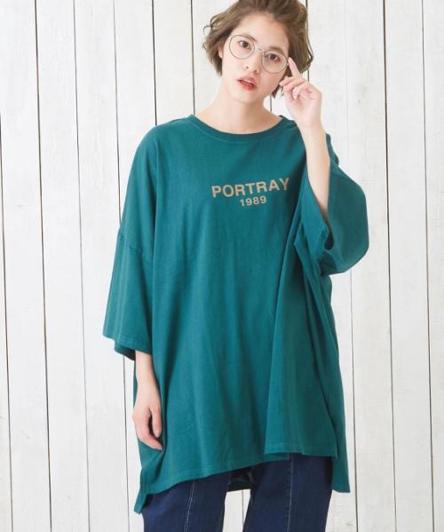 空紡糸ピグメント染めロゴプリントビッグTシャツ