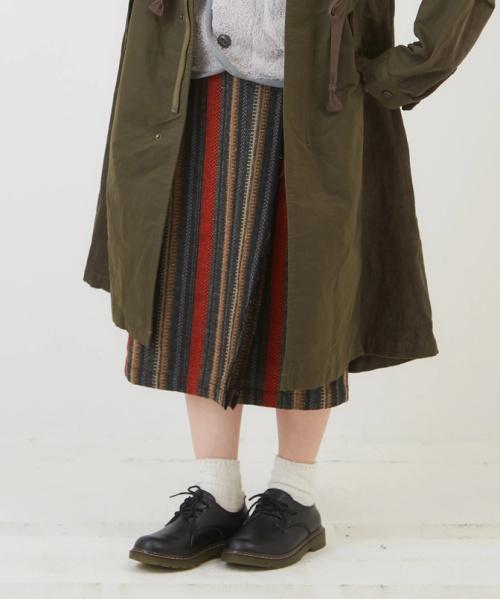 ジャカードストライプラップ風スカート