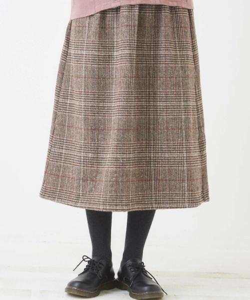 グレンチェックイージーギャザースカート
