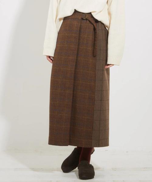 ウール混先染めラップ風ナロースカート