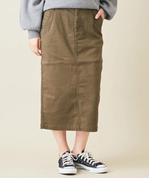 ストレッチツイル裏起毛ナロースカート