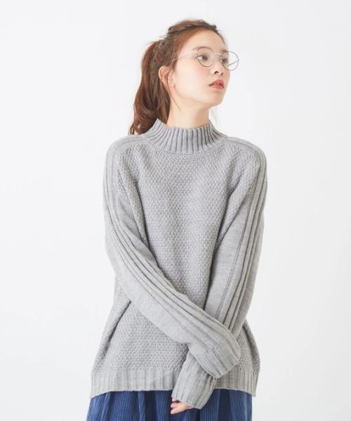 アクリルウールライン柄切替タートル / ニット セーター
