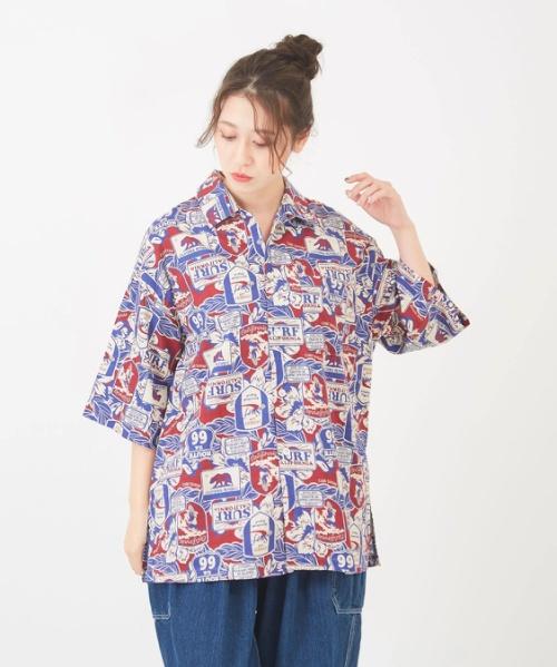 綿レーヨン ワッペンプリント ビッグオープンカラー 開襟シャツ