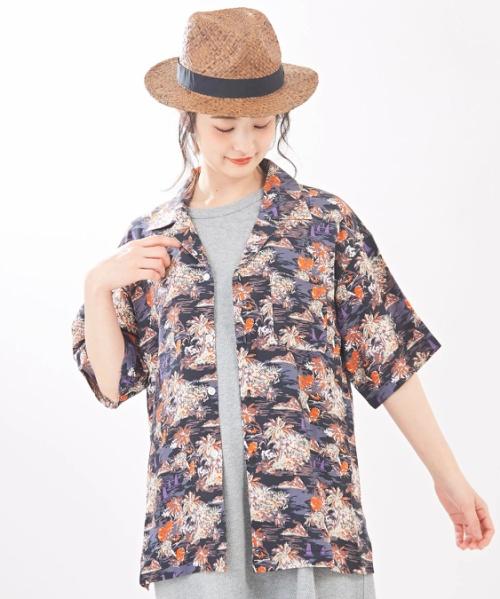 インドレーヨン アロハ柄プリント オープンカラー開襟シャツ