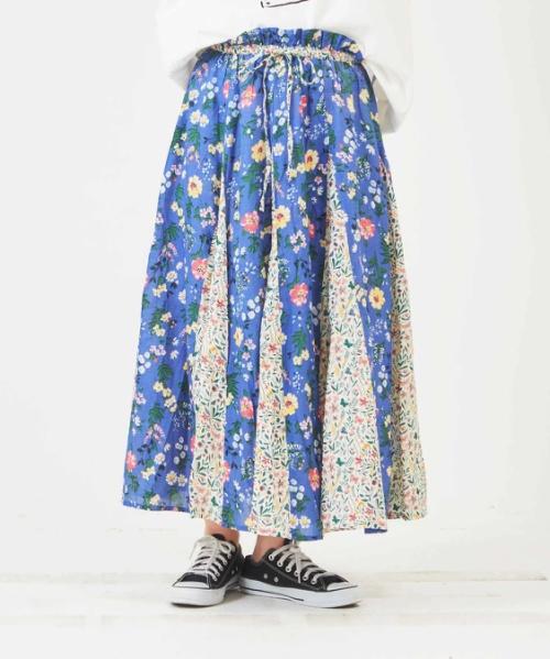 インド綿レーヨン フラワー柄プリント ギャザーフレアスカート