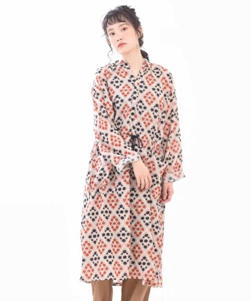 インド綿レーヨン フラワー柄プリント バンドカラーシャツワンピース