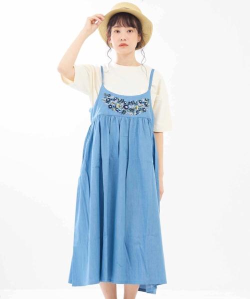 インド4.5オンスデニム 花柄刺繍2WAYサロペットスカート