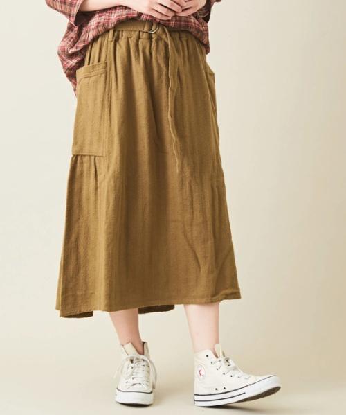 起毛先染めヘリンボンサイドポケットギャザースカート