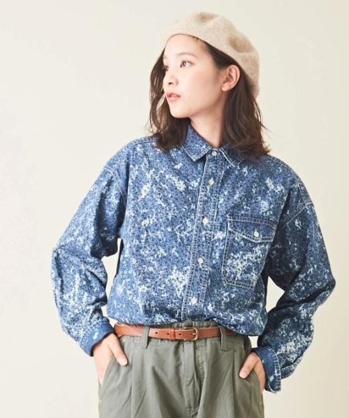 5.5オンスデニム×花プリント ワークシャツ