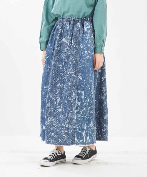 5.5オンスデニム×花プリント ギャザースカート