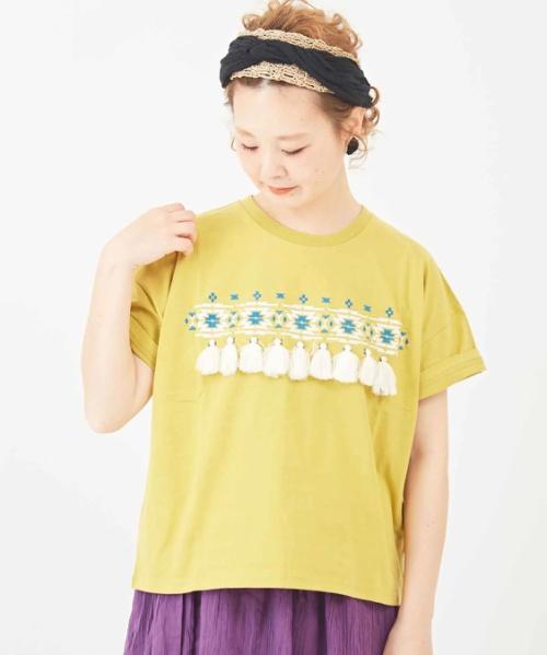 天竺 ロゴプリント 刺繍入りクルーネックTシャツ