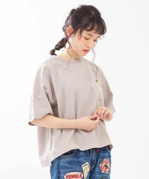 天竺×布帛 ピグメント染め クルーネックTシャツ