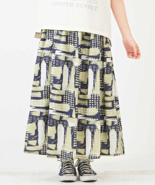 【再値下げ】タテヨコスラブ ブラッシュペイントプリント ギャザースカート
