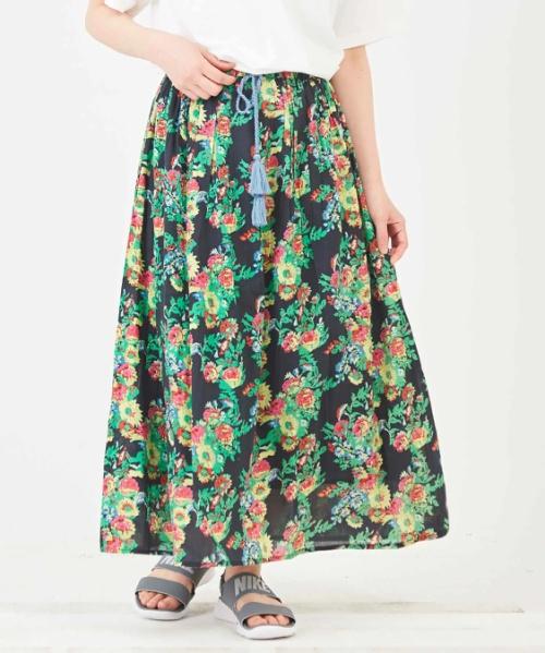 インド 綿ボイル 総柄プリント ギャザースカート