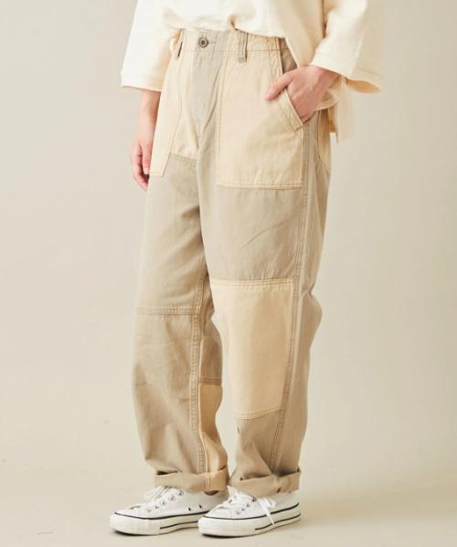綿ツイル 配色 リメイク風 ベーカーパンツ