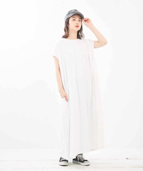 【再値下げ】綿レーヨン天竺 裾フレア ワンピース