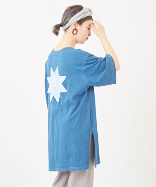 【セール除外商品】インディゴ天竺 ヘンリーチュニック Tシャツ